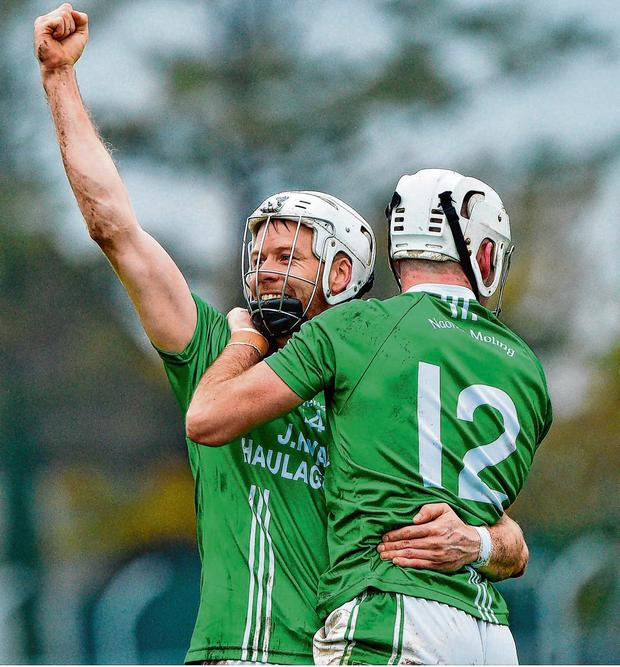 Jack Kavanagh and Marty Kavanagh of St Mullins celebrate after yesterday's victory over Cuala in Carlow. Photo: Matt Browne/Sportsfile