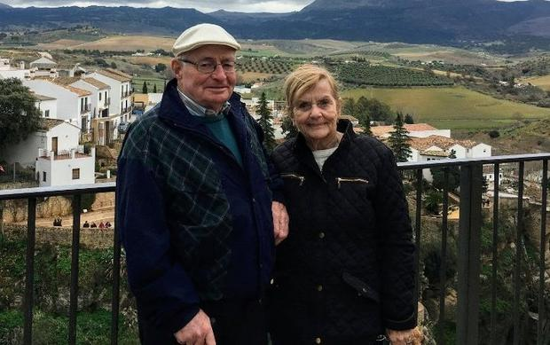 Mentally alert: Helen Grace and her husband Ned on their travels before her spinal injury