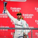 Nov 3, 2019; Austin, TX, USA; Mercedes AMG Petronas Motorsport driver Lewis Hamilton (44) of Great Britain celebrates winning his sixth world championship at the United States Grand Prix at Circuit of the Americas. Mandatory Credit: Jerome Miron-USA TODAY Sports