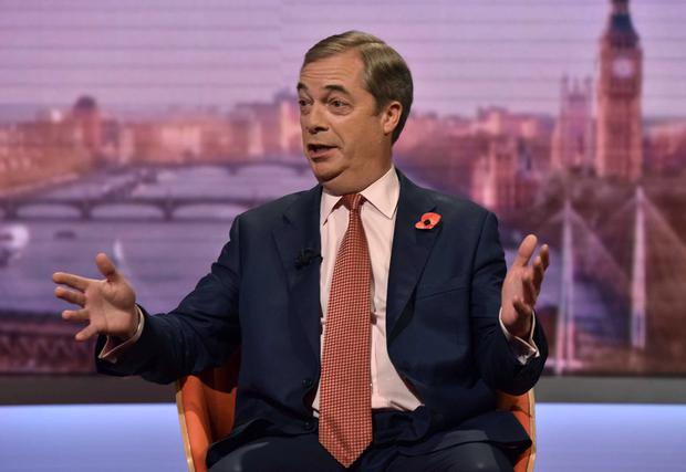 Brexit Party leader Nigel Farage appears on BBC TV's The Andrew Marr Show. Photo: Jeff Overs/BBC/Handout via REUTERS