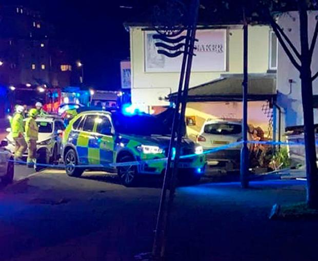 Police at the scene outside the Spinnaker Public House in Colchester. Photo: Kirsty Milligan/PA Wire