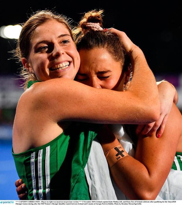 Ireland captain Katie Mullan, left, and Elena Tice of Ireland celebrate