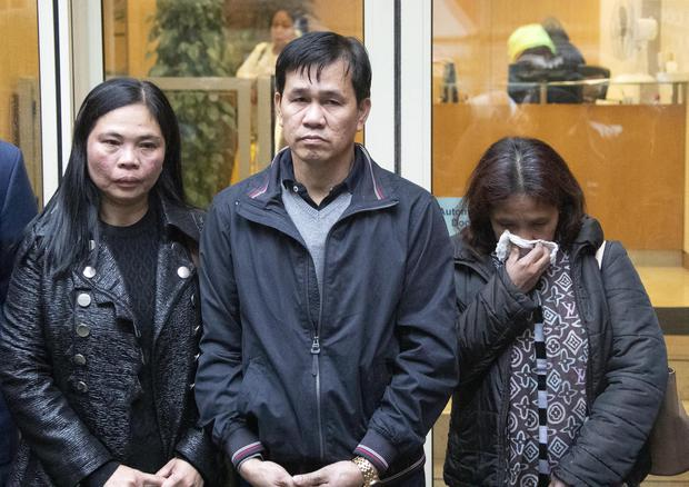 Anguish: Teresita and Danilo Valdez, the parents of Jastine Valdez, with family friends at the inquest into the death of their daughter. Photo: Colin Keegan, Collins Dublin