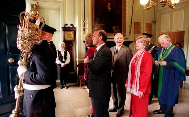 Gay Byrne in the Mansion House before receiving his Freedom of Dublin