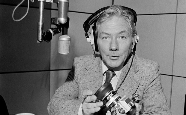Gay Byrne in the radio studio in 1982