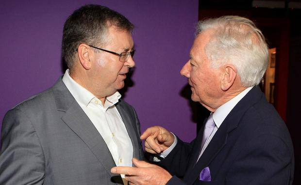Close friends: Joe Duffy and Gay Byrne at the launch of Duffy's autobiography 'Just Joe' in Dublin. Photo: Brian McEvoy