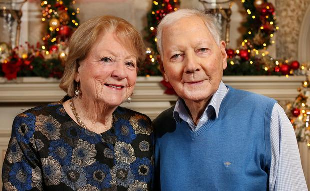 'World's greatest broadcaster': Tributes have poured in for Gay Byrne, pictured here last December with his wife Kathleen Watkins. Photo: Steve Humphreys