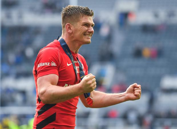 Owen Farrell Owen Farrell of Saracens celebrates after the Heineken Champions Cup win over Leinster