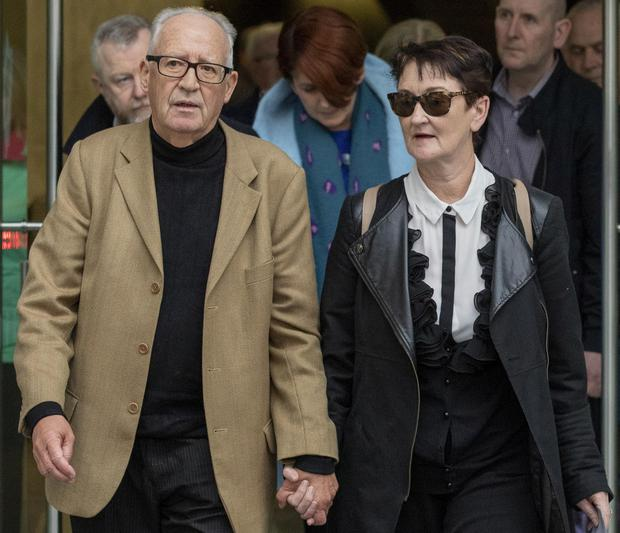 Patric and Geraldine Kriegel, parents of murdered schoolgirl Ana Kriegel leaving court after the sentence hearing for the two boys convicted of Ana's murder. Picture: Collins Courts