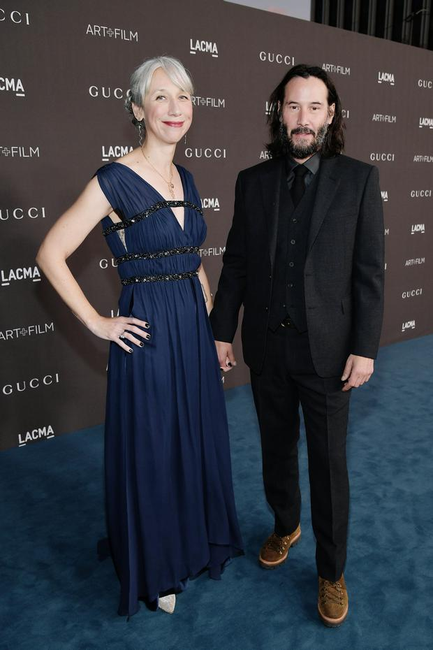 (L-R) Alexandra Grant and Keanu Reeves attend the 2019 LACMA 2019 Art + Film Gala Presented By Gucci at LACMA on November 02, 2019 in Los Angeles, California. (Photo by Neilson Barnard/Getty Images for LACMA)