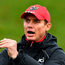 Stephen Larkham only has eyes for the ball at training in UL. Photo: Sportsfile