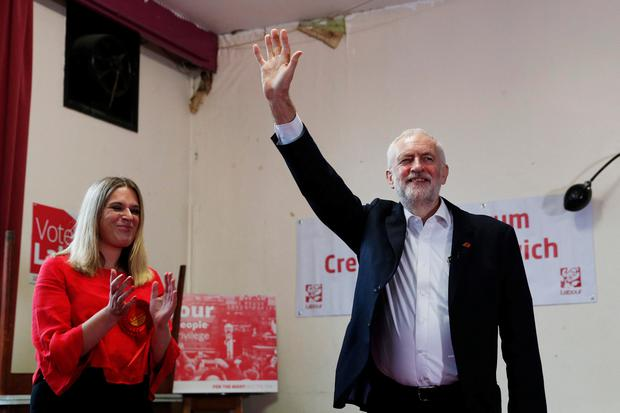 Labour leader Jeremy Corbyn waves during a visit to Crosville Social Club whilst on the General Election campaign trail on November 6, 2019 in Crewe, England. Photo by Darren Staples/Getty Images