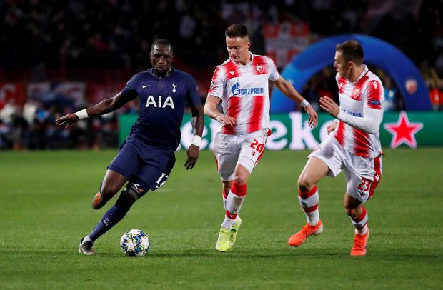 Tottenham Hotspur's Moussa Sissoko in action with Crvena Zvezda's Njegos Petrovic and Milan Rodic. Photo: Andrew Boyers/Action Images via Reuters