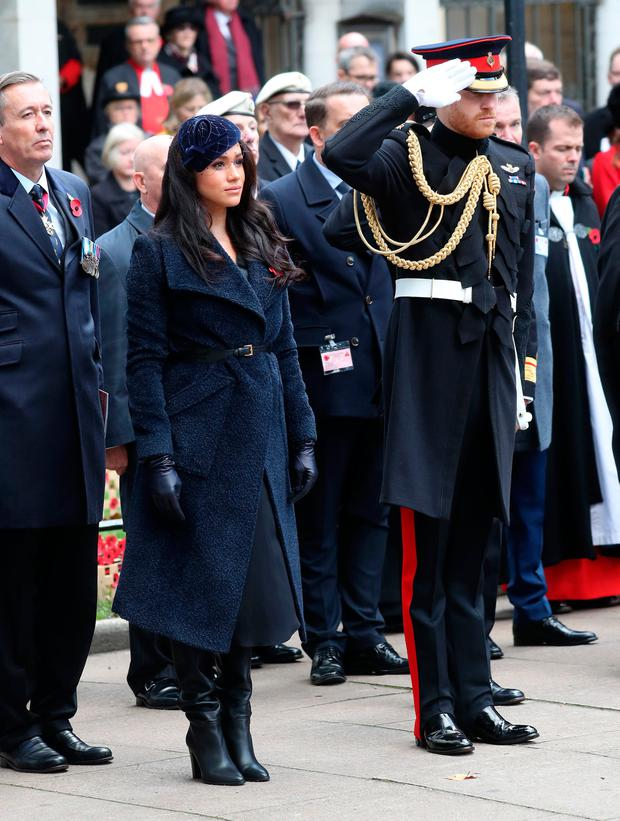 Meghan, Duchess of Sussex and Prince Harry, Duke of Sussex attend the 91st Field of Remembrance at Westminster Abbey on November 07, 2019 in London, England. (Photo by Chris Jackson/Getty Images)