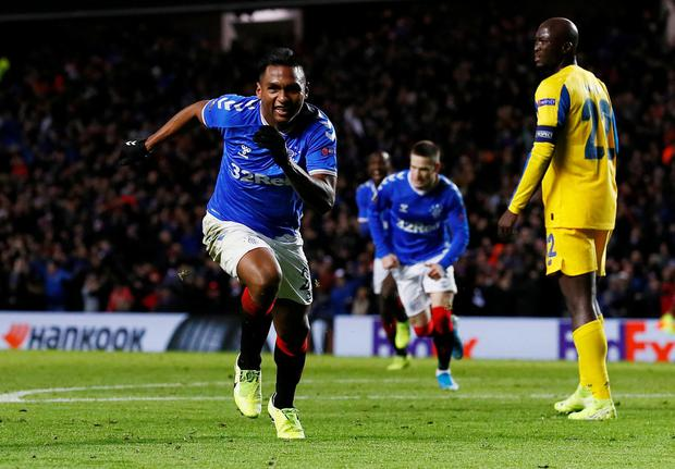 Rangers' Alfredo Morelos celebrates scoring the first goal against Porto. Action Images via Reuters/Jason Cairnduff