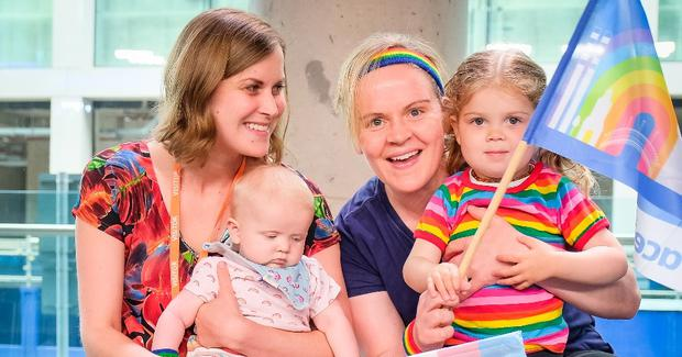 Bundles of joy: Ranae (32) and her wife Audrey (39) underwent reciprocal IVF abroad. They have two children, Ava (3) and Arya (nine months).