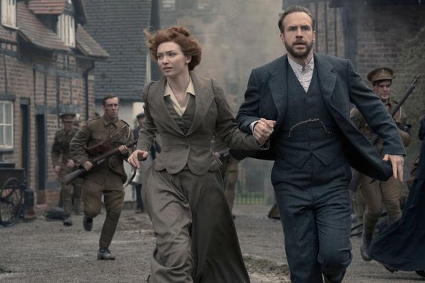 Eleanor Tomlinson as Amy and Rafe Spall as George in the new BBC adaptation of HG Wells' classic story The War Of The Words (BBC)