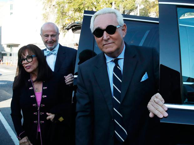 On trial: Longtime Donald Trump adviser Roger Stone arrives at court with his wife Nydia. Photo: Mark Wilson/Getty Images