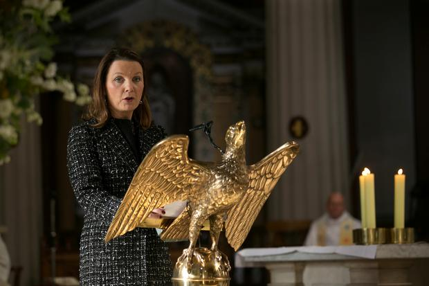 Gay Byrne's daughter Suzy speaks at the funeral of her father in St Mary's Pro-Cathedral Dublin November 8, 2019. Pictures by David Conachy