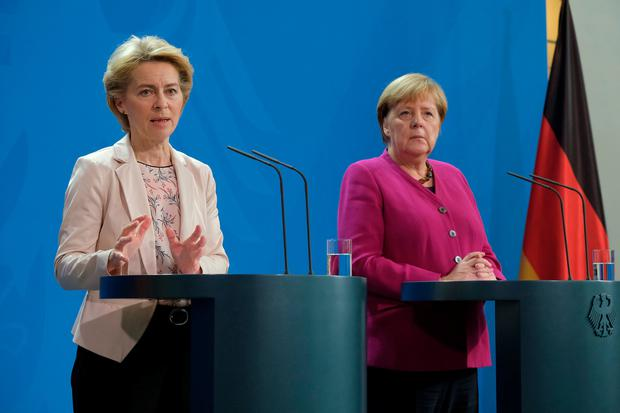German Chancellor Angela Merkel (R) and incoming President of the European Commission Ursula von der Leyen speak to the media following talks at the Chancellery on November 8, 2019 in Berlin, Germany Photo by Sean Gallup/Getty Images