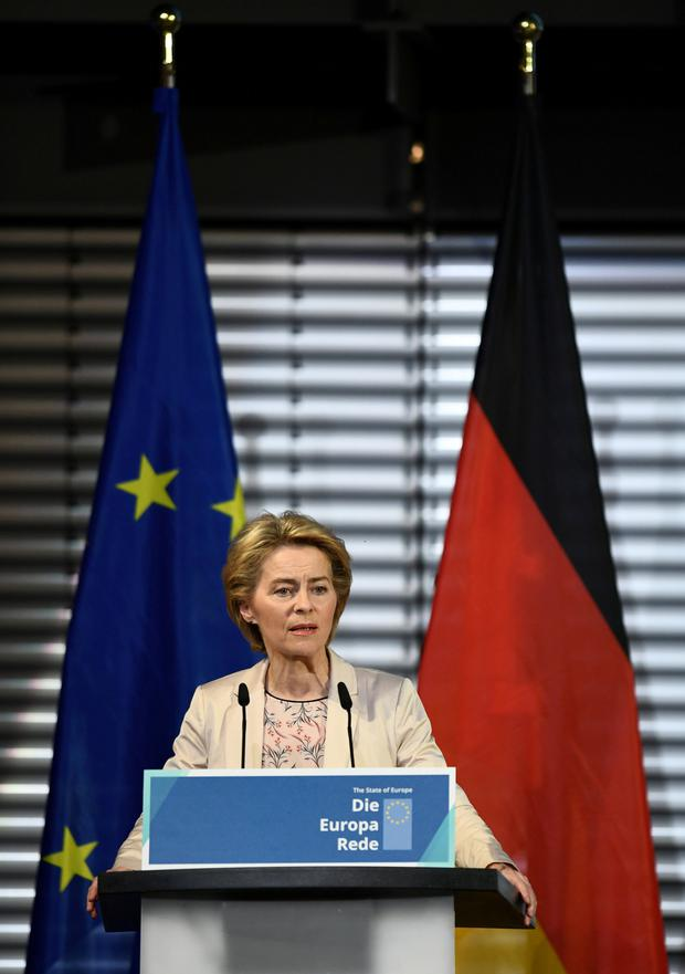 EU Commission President-elect Ursula Von der Leyen holds a speech on the present situation in Europe, in Berlin, Germany November 8, 2019. pHOTO: REUTERS/Annegret Hilse