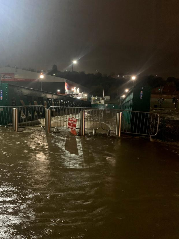floodwater near Meadowhall shopping centre in Sheffield where some people were forced to stay overnight after heavy rain and flooding caused local roads to become gridlocked. @Eggy5691/Steven Whitehead/Twitter/PA Wire