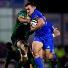 Rónan Kelleher of Leinster is tackled by Eoghan Masterson of Connacht during the Guinness PRO14 Round 6 match at the Sportsground in Galway. Photo: Ramsey Cardy/Sportsfile