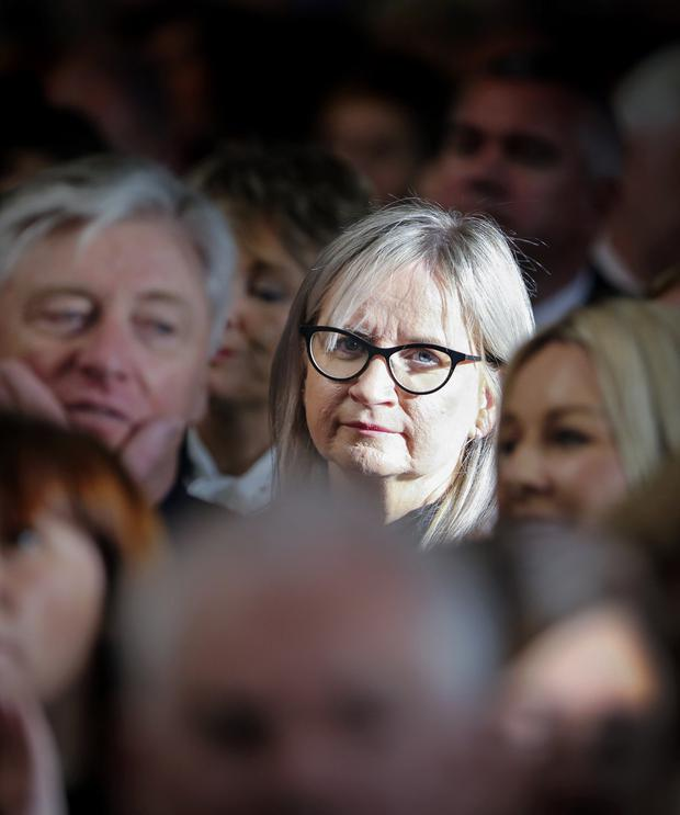Reflective: RTÉ director general Dee Forbes (centre) at the funeral of Gay Byrne. PHOTO: DAVID CONACHY