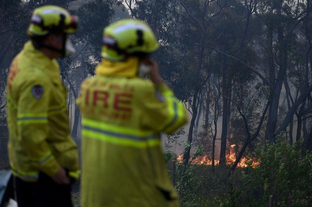 NSW Rural Fire Service and Fire and Rescue NSW personnel conduct property protection as a bushfire burns in Woodford NSW, Australia, November 8, 2019. AAP Image/Dan Himbrechts/via REUTERS