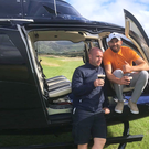 High flyers: Tim O'Leary with Mayo star Aidan O'Shea at Hogs Head Golf Club, County Kerry