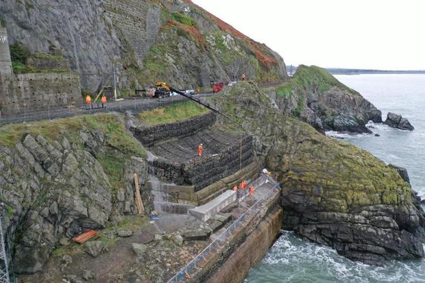 Bray Head where the Bray to Greystones line has been temporarily closed for coastal defence works (Photo: Irish Rail Facebook)