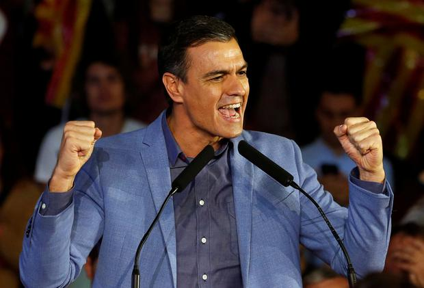 Spanish acting Prime Minister and Socialist Workers' Party (PSOE) leader Pedro Sanchez reacts during a campaign closing rally ahead of general election, in Barcelona, Spain November 8, 2019. REUTERS/Rafael Marchante