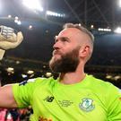 Alan Mannus of Shamrock Rovers celebrates after the FAI Cup Final