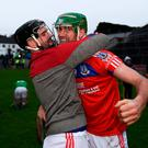 St Thomas duo, James Barrett (left) and David Burke, celebrate. Photo: Harry Murphy/Sportsfile