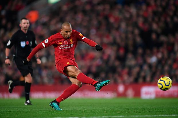 'With Fabinho, Liverpool possess a team who currently have no tactical flaw, able to dominate when opponents sit back, or gleefully set the traps and move from back to front to score in 22 seconds when, like City, visitors play with ambition.' Photo: Laurence Griffiths/Getty Images