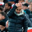 Manchester City manager Pep Guardiola appears frustrated