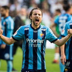 Sing when you're winning: Kevin Walker of Djurgardens IF celebrates after their 2-1 victory Hammarby IF in September. Photo: MICHAEL CAMPANELLA/Getty Images