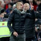 Manchester City manager Pep Guardiola remonstrates with officials on the touchline during his side's 3-1 defeat against Liverpool at Anfield. Photo: Action Images via Reuters/Carl Recine