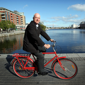 Saddle up: Liam Collins cycling in Dublin's Docklands. Photo: Tony Gavin