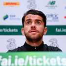 Robbie Brady, pictured this morning during an Ireland press conference at the FAI National Training Centre in Abbotstown, Dublin. Photo: Stephen McCarthy/Sportsfile