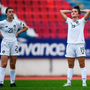 Keeva Keenan, right, and Emily Whelan react after Ireland let a late lead slip against Greece. Photo by Harry Murphy/Sportsfile