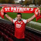 Robbie Benson has signed with St Pat's from Dundalk. Image credit: St Patrick's Athletic.