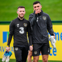 Jack Byrne (L) and Troy Parrott catch the eye of the camera during yesterday's training session in Abbotstown. Photo: Stephen McCarthy/Sportsfile
