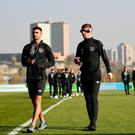 14 November 2019; Dan Mandroiu, left, and Kameron Ledwidge of Republic of Ireland walk the pitch prior to the UEFA European U21 Championship Qualifier Group 1 match between Armenia and Republic of Ireland at the FFA Academy Stadium in Yerevan, Armenia. Photo by Harry Murphy/Sportsfile