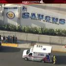 Police and emergency vehicles on the scene of a shooting at Saugus high school in Santa Clarita, California, U.S., November 14, 2019 in this screenshot taken from video footage courtesy of NBCLA. NBCLA via REUTERS