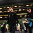 Kieran O'Hara, left, and Mark Travers of Republic of Ireland prior to the 3 International Friendly match between Republic of Ireland and New Zealand at the Aviva Stadium in Dublin. Photo by Stephen McCarthy/Sportsfile