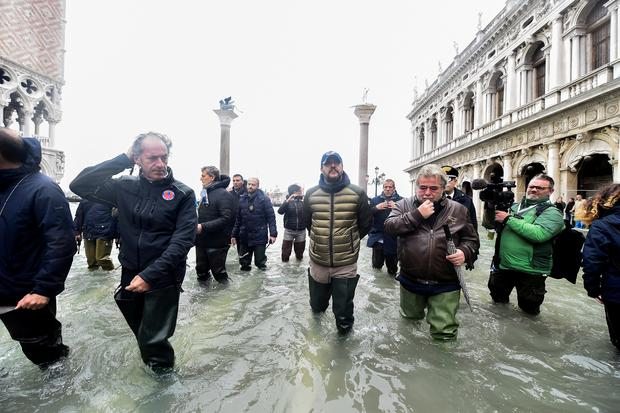 League party leader Matteo Salvini visits the flooded St. Mark's Square, as high tide reaches peak, in Venice, Italy November 15, 2019. REUTERS/Flavio Lo Scalzo