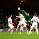 14 November 2019; Derrick Williams of Republic of Ireland heads to score his side's first goal during the 3 International Friendly match between Republic of Ireland and New Zealand at the Aviva Stadium in Dublin. Photo by Stephen McCarthy/Sportsfile