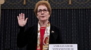 Marie Yovanovitch, former US ambassador to Ukraine, is sworn in to testify before a House Intelligence Committee hearing as part of the impeachment inquiry into President Donald Trump Andrew Harrer/Pool via REUTERS