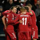 Denmark's midfielder Christian Eriksen (L) and his teammates celebrate the 1-0 during the UEFA Euro 2020 Group J qualification football match between Denmark and Gibraltar in Copenhagen, Denmark, on November 15, 2019. (Photo by Lars Moeller / Ritzau Scanpix / AFP) / Denmark OUT (Photo by LARS MOELLER/Ritzau Scanpix/AFP via Getty Images)